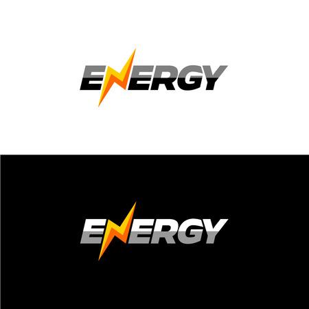 Energie police de texte d'icône dynamique avec la foudre à la place de N lettre. Banque d'images - 43490839