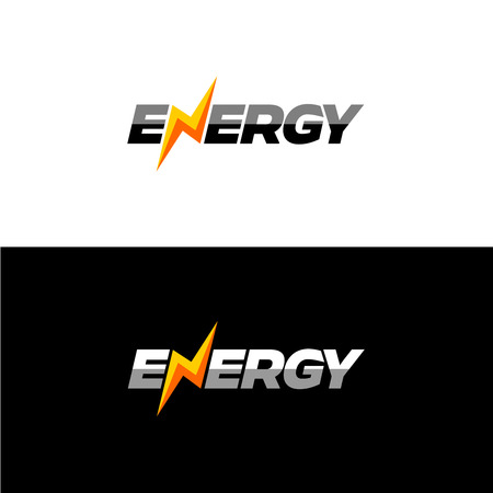 Energy text font dynamic icon with lightning instead of N letter. Vettoriali