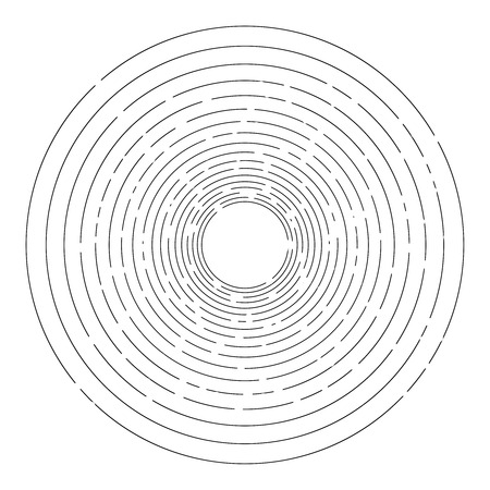 dashed: Thin random dashed concentric circles background Illustration