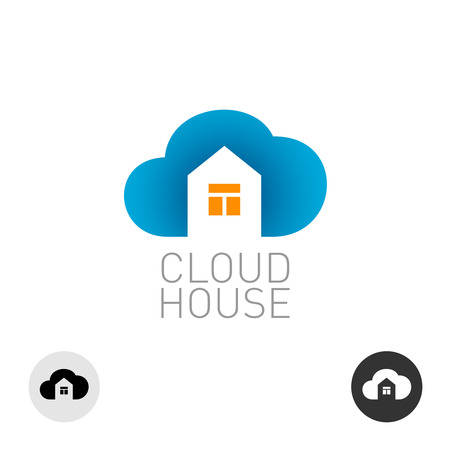 cloud icon: Cloud house icon. Real estate building theme use.