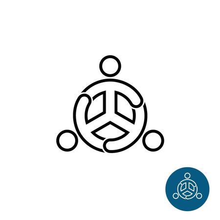 round logo: Three people black outline team community logo