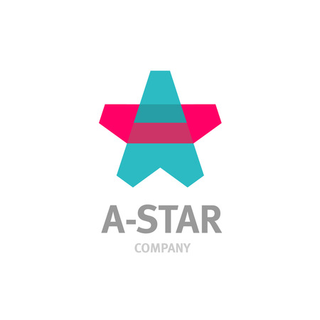 star logo: Letter A star shaped overlay logo template. Transparency are flattened. Illustration