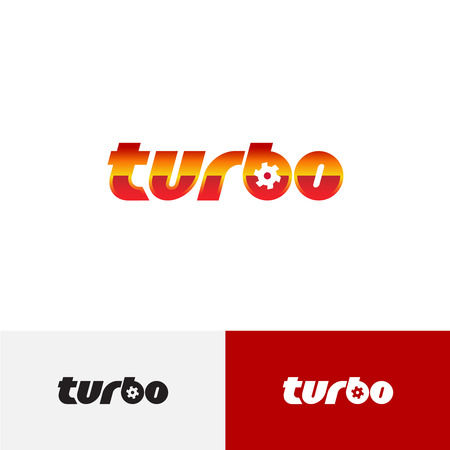 turbo: Turbo word text logo with turbine charger fan