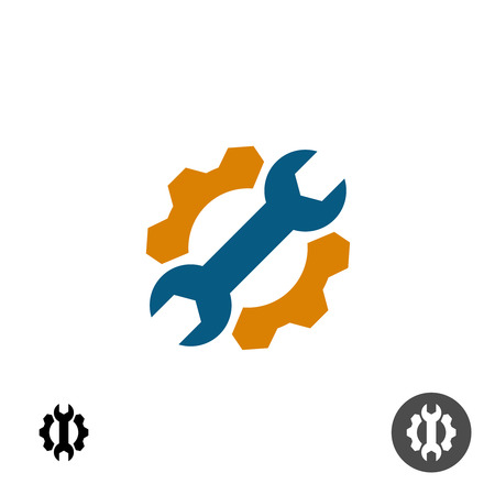 gears: Tech service repair logo with gear and wrench. Options or settings icon. Illustration