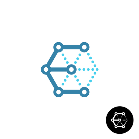 Letter E cube 3D tech wireframe logo Vectores