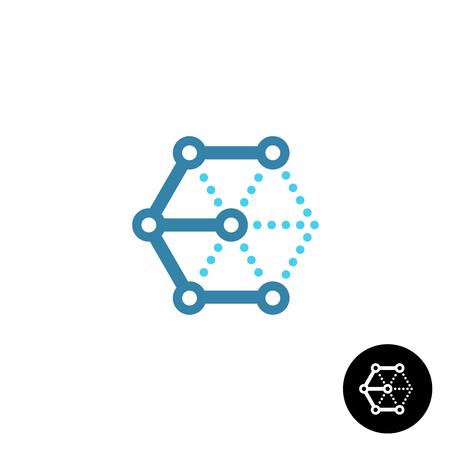 Letter E cube 3D tech wireframe logo Illustration