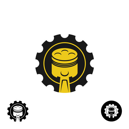 pulley: Car piston with pulley gear tech logo Illustration
