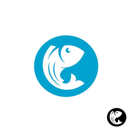 blue fish: Fish round logo