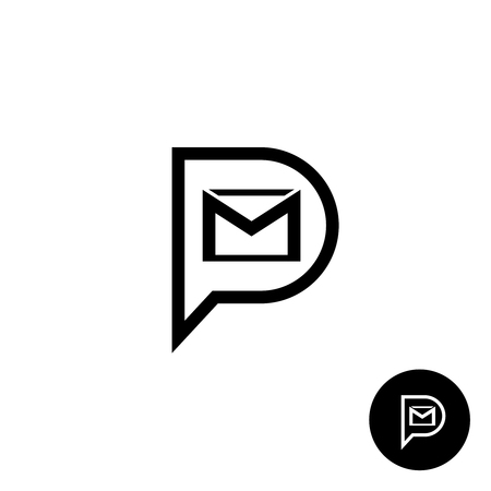 pm: PM letters logo. Private message abbreviation with speech bubble and mail envelope shape. Black outline style.