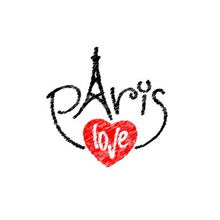 París logotipo de letras de texto con la torre y la palabra amor en forma de corazón Vectores