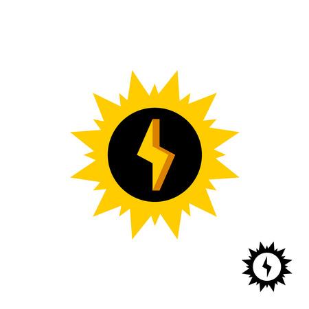 energy logo: Sun energy logo with lightning bolt