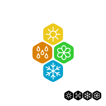 weather: All season symbol. Winter snowflake, spring flower, summer sun, autumn rain weather signs. Linear style.