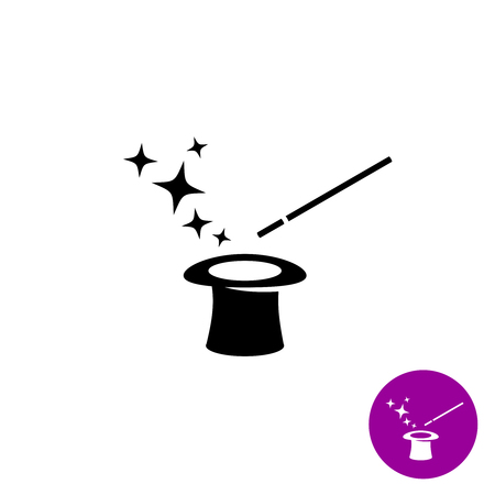 Magic wand with magician hat and stars black symbol Çizim