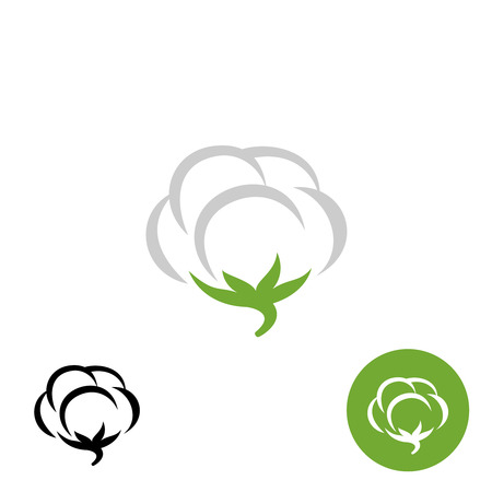 Katoen vector logo met zwarte en witte één kleurvariaties Logo