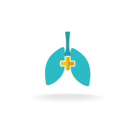 lung: Lungs medical logo with rounded cross