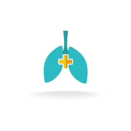 Pulmones logotipo de médicos con la cruz redondeada Logos