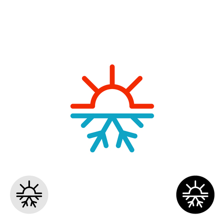 red sun: Hot and cold symbol. Sun and snowflake all season concept logo. Illustration