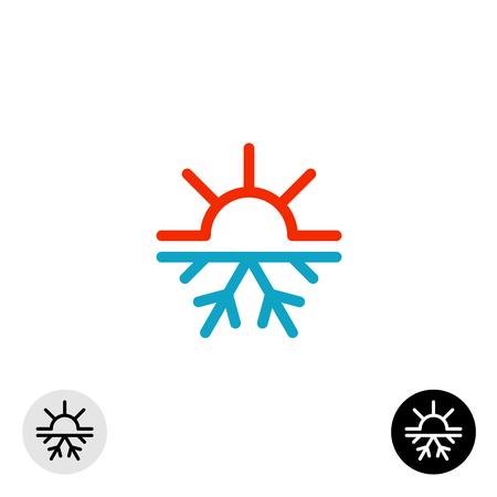 meteo: Simbolo calda e fredda. Sole e fiocco di neve per tutta la stagione concetto logo.
