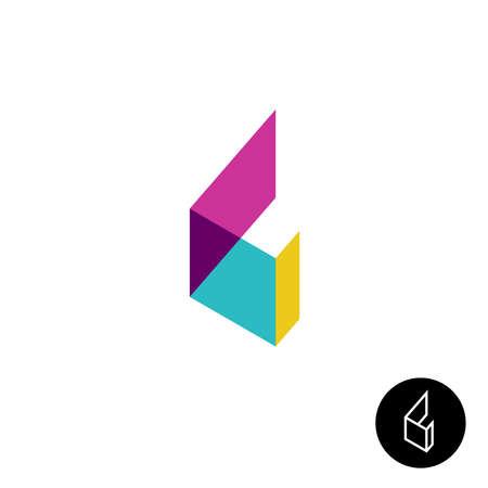 L: Letter L 3D transparent ribbon flat style logo Illustration