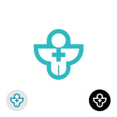 religion: Man with cross religion or medical logo