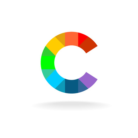 Letter C colorful rainbow logo. Overlay particles style.