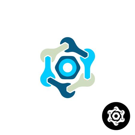 tuercas y tornillos: Logo Tech con las llaves y la tuerca Vectores