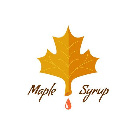 maple syrup: Signo de jarabe de arce. Logotipo con la hoja, gota y texto. Vectores