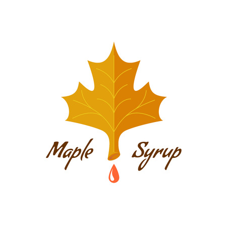 Maple syrup sign. Logo with leaf, drop and text. Illustration