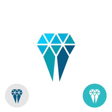 gems: Diamond molar simple logo. Triangle particles style sign. Illustration