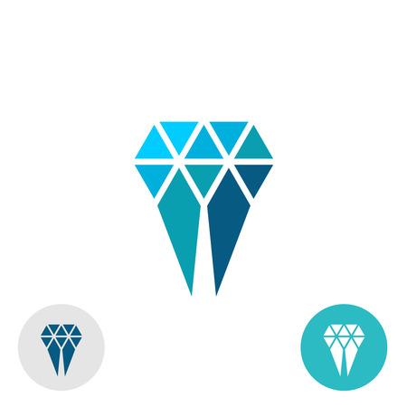 diamante: Molar Diamond logotipo simple. Triángulo partículas signo estilo. Vectores