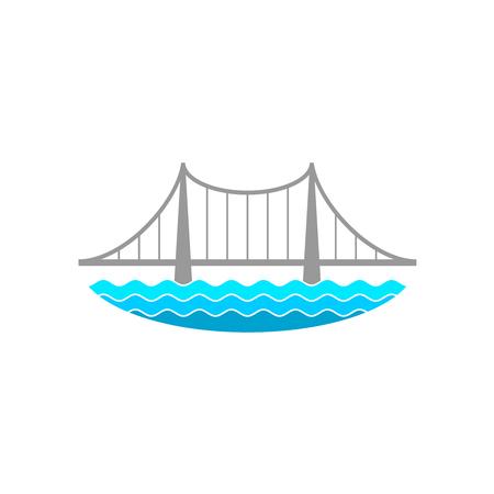 Puente sobre el río  Ilustración de vector