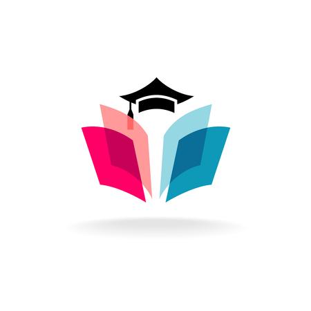 giáo dục: khái niệm giáo dục với mũ tốt nghiệp và các trang sách mở. Minh bạch được làm phẳng.