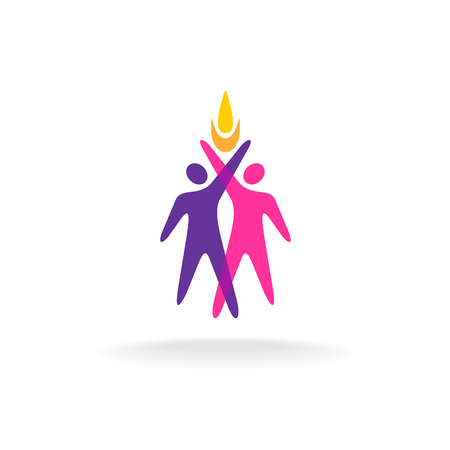 fire symbol: Two people with hands up and fire symbol. Overlay colorful style.