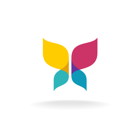 Colorful butterfly . Overlay transparent sheets style.