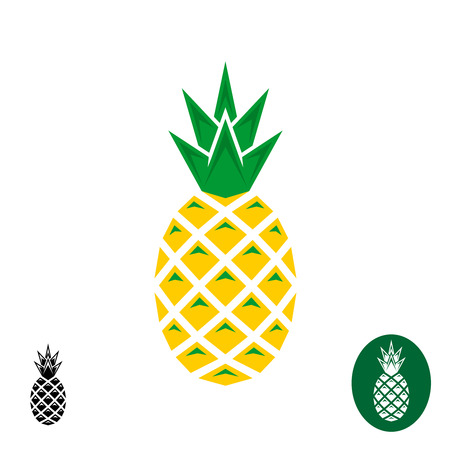 pineapples: Pineapple . Geometric sharp corners style . Color and monochrome versions.
