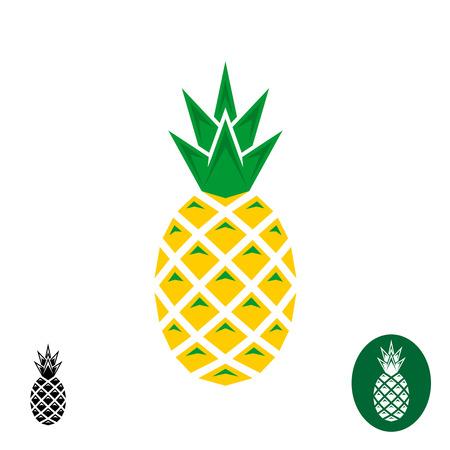 pineapple: Trái dứa . Geometric góc nhọn phong cách. Màu sắc và đơn sắc phiên bản. Hình minh hoạ
