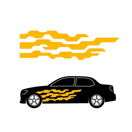 decal: Car sticker side door decal. Tech geometric with rounded corners style vehicle application.