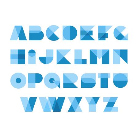 幾何学的図形のフォントのアルファベット。透明スタイル文字をオーバーレイします。透明度が平坦化されます。任意の背景に適用できます。簡単