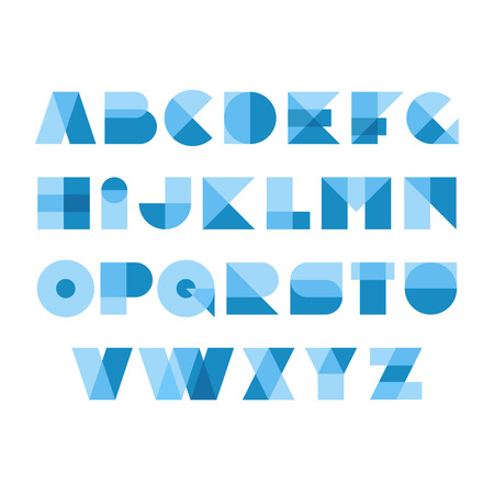Geometric shapes font alphabet. Overlay transparent style letters. Transparency are flattened. Can be apply on any background. Easy color tint ability. Vettoriali