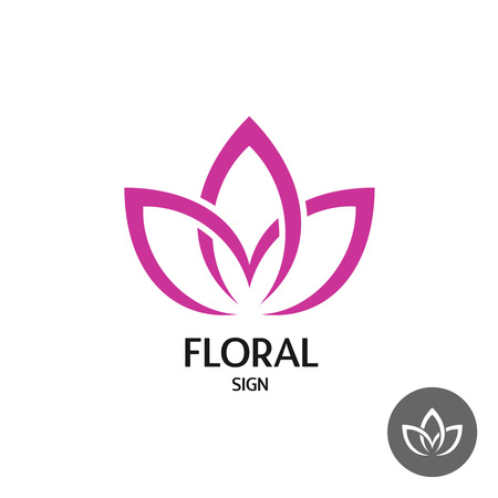 Floral with three leaves of linear smooth elegant style