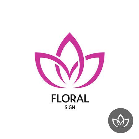 zen attitude: Floral avec trois feuilles de style élégant lisse linéaire Illustration