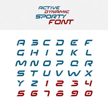 symbol sport: Sport Techno Schrift Buchstaben des Alphabets. Skew kursiv dynamische Schriftbild. Großbuchstaben und Zahlen. Illustration