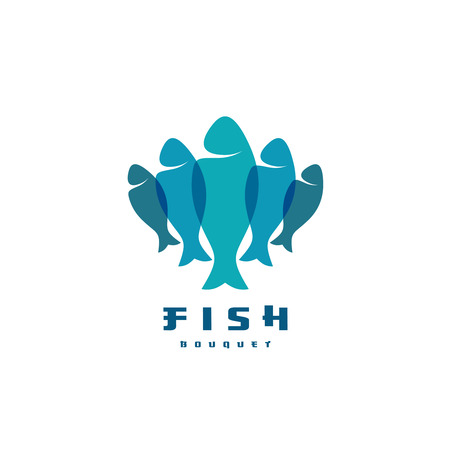 food industry: Fish . Several vertical shapes with overlay. Food industry symbol. Illustration