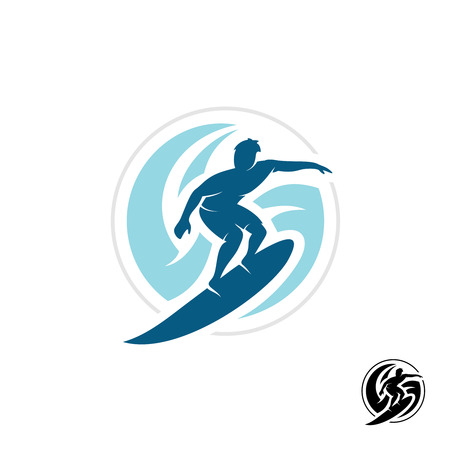 shape silhouette: Surf with man silhouette, board and sea waves water twirl in a round shape.