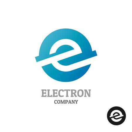 E の文字。青い丸い球体コンセプトで産業技術スタイル。