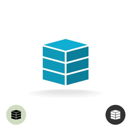 Data base . Simple geometric 3d box symbol.