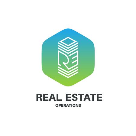 abbreviation: Real estate abbreviation monogram . Skyscraper building sign in a hexagonal badge.