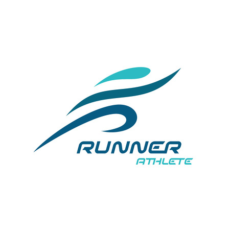 sport training: Runner . Fast simple stylized athlete figure.