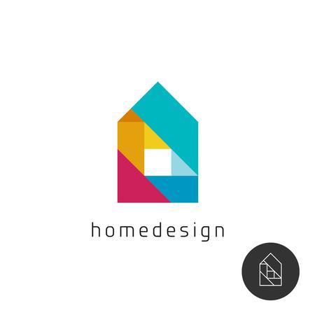 albañil: Casa concepto de diseño colorido del arco iris elementos geométricos.