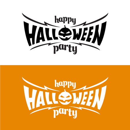 title: Happy hallowen party title template. Bat wings shape with evil pumpkin.